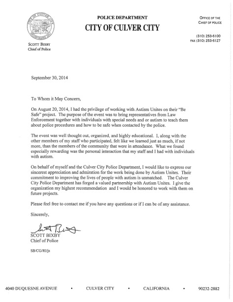 Letter of Recommendation from Chief of Police